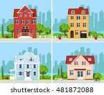 set of detailed colorful modern ... | Shutterstock .eps vector #481872088