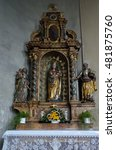 Small photo of ERSINGEN, GERMANY - CIRCA AUGUST 2016 Altar in the church