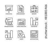 statistics icons set  thin line ... | Shutterstock .eps vector #481881466