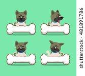 cartoon akita inu dog with big... | Shutterstock .eps vector #481891786