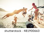 group of friends diving in the... | Shutterstock . vector #481900663