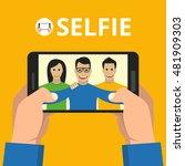 man hands holding smartphone... | Shutterstock .eps vector #481909303