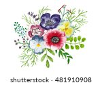 bouquet of flowers and leaves ... | Shutterstock . vector #481910908
