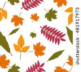 autumn leaves seamless pattern | Shutterstock .eps vector #481917973
