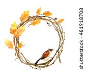 colorful autumn wreath with... | Shutterstock . vector #481918708