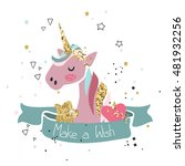 make a wish card with pink... | Shutterstock .eps vector #481932256