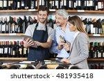 salesman showing wine...   Shutterstock . vector #481935418