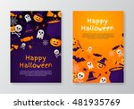 halloween banners set. vector... | Shutterstock .eps vector #481935769