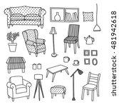 vector set of furniture of...   Shutterstock .eps vector #481942618