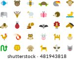 animals colored flat icons | Shutterstock .eps vector #481943818