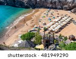 Small photo of TENERIFE, SPAIN - SEPTEMBER 2, 2016: Playa de Abama with tourists, aerial view. Tenerife attracts 5 million people annually