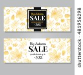 Autumn Sale Vector Gold Banner...
