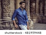 handsome male model posing  | Shutterstock . vector #481959448