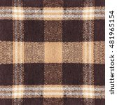 Small photo of Brown checkered plaid fabric detail closeup for background