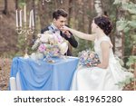 newly married in the wood   Shutterstock . vector #481965280