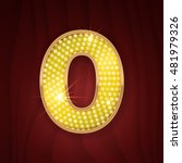 Gold light lamp bulb font number 0 Zero, null. Sparkling glitter design in style of vegas casino, cabaret and broadway show decoration. Shining numbers symbols of alphabet set for light board