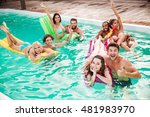 happy young couples swimming in ... | Shutterstock . vector #481983970