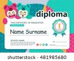 preschool kids diploma... | Shutterstock .eps vector #481985680