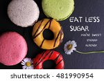 motivation words eat less sugar ... | Shutterstock . vector #481990954
