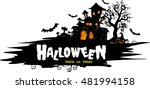 halloween night background with ... | Shutterstock .eps vector #481994158