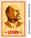 portrait of vladimir lenin.... | Shutterstock .eps vector #482003026