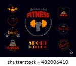 set of fitness logos  badges or ... | Shutterstock .eps vector #482006410
