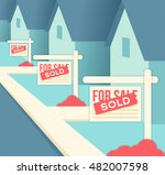 real estate sold sign properties | Shutterstock .eps vector #482007598
