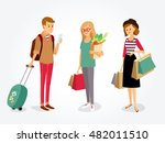 vector  people with gadgets ... | Shutterstock .eps vector #482011510
