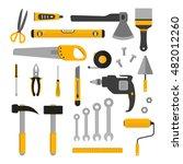 flat set of working tools.... | Shutterstock .eps vector #482012260