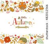 hello autumn banner in doodle... | Shutterstock .eps vector #482012566