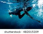 freediver in wetsuit neoprene... | Shutterstock . vector #482015209