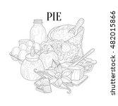 pie baking ingredients hand... | Shutterstock .eps vector #482015866