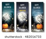 three holiday halloween banners ... | Shutterstock .eps vector #482016733