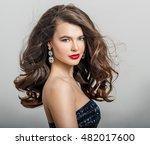 beautiful girl with long wavy... | Shutterstock . vector #482017600