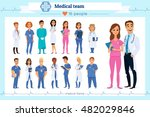 set of group doctors  nurses... | Shutterstock .eps vector #482029846