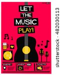 let the music play   flat style ... | Shutterstock .eps vector #482030113