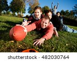 football  tackled guy tries for ... | Shutterstock . vector #482030764