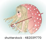 beautiful melancholic blonde... | Shutterstock .eps vector #482039770