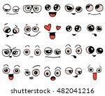 emotions. set of doodle faces.... | Shutterstock .eps vector #482041216
