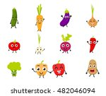 funny cartoon vegetables | Shutterstock .eps vector #482046094