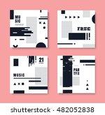 set of monochrome invitation... | Shutterstock .eps vector #482052838