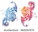 fire and water ornamental swirls | Shutterstock .eps vector #482054374