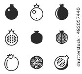 pomegranate vector icons....