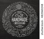 line art chalkboard vector hand ... | Shutterstock .eps vector #482060248