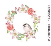 cute bird on floral wreath 1.... | Shutterstock . vector #482068384