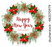 christmas floral wreath  round... | Shutterstock .eps vector #482070979