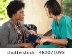 nurse taking a patients blood...   Shutterstock . vector #482071093