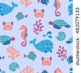 cute sea animals seamless... | Shutterstock .eps vector #482079133