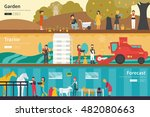 garden tractor forecast flat...   Shutterstock .eps vector #482080663