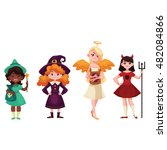 girls dressed in costumes for... | Shutterstock .eps vector #482084866